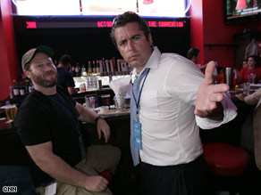 The Daily Show's Jason Jones and his producer, Miles, spent some time relaxing at the CNN Grill Monday night in St. Paul.