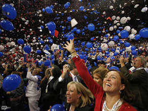 Delegates look up as the balloons fall after Republican presidential nominee John McCain concluded his speech at the Republican National Convention in St. Paul, Minnesota, Thursday.