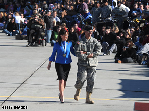 Palin made an appearance at an Army base for her son Track's deployment.