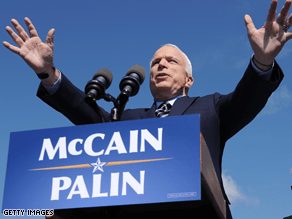 McCain holds razor-thin leads in three battleground states.