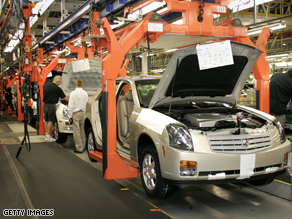 The Cadilac CTS assembly line in Detroit, MI.  One of McCain's thirteen cars.