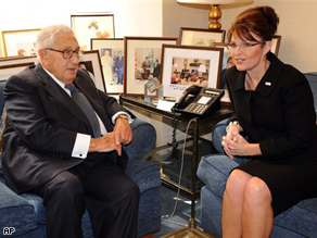 Republican vice presidential candidate Sarah Palin meets former U.S. Secretary of State Henry Kissinger in New York City, Tuesday.