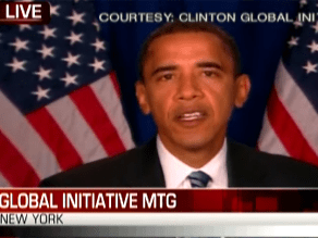 Obama is addressing the Clinton Global Initiative
