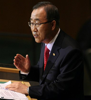 United Nations Secretary General Ban Ki-moon addresses the 63rd session of the United Nations General Assembly in New York.