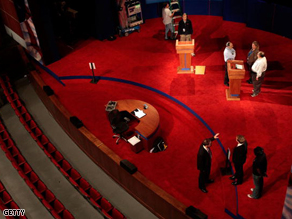 Rehearsals for Friday's presidential debate between Sen. John McCain and Sen. Barack Obama at the University of Mississippi.
