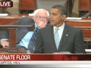 Obama is delivering a speech on the Senate Floor.