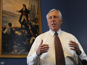 House Majority Leader Steny Hoyer, speaks to the press in his office on the financial market turmoil on Capitol Hill, Wednesday.