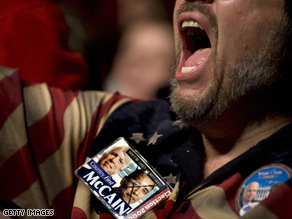 A passionate McCain supporter at a Davenport, Iowa rally this week.