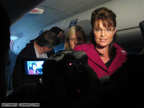 Gov. Palin spoke with reporters on her campaign plane Friday.