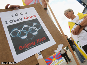 Reporters Without Borders protests the International Olympics Committee during the 2008 Summer Olympics in China this August.