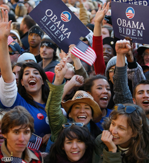 Students cheer as Barack Obama speaks during a campaign event at Colorado State University on Sunday.
