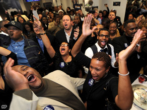 Barack Obama supporters celebrate at Hyde Park Hair Salon where President-elect Barack Obama gets his hair cut on the south side of Chicago