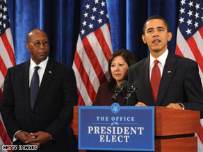 President-elect Obama formally announced four more Cabinet picks at a press conference Friday.