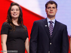 Bristol Palin and Levi Johnston joined the rest of the Palin family onstage during the Republican convention in September.