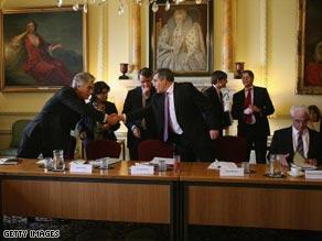 British Prime Minister Gordon Brown meets international bank chiefs.