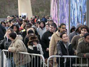 Queues for tickets to Michael Jackson's concert wind outside the O2 Arena in London on March, 13, 2009.