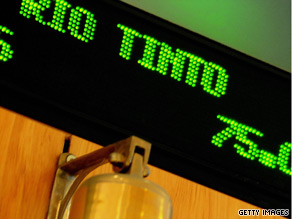 Mining company Rio Tinto saw their profits fall in the first half of 2009.