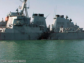 Seventeen U.S. sailors were killed in the 2000 bombing of the USS Cole in Aden, Yemen.