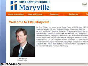 The Web site for First Baptist Church of Maryville includes a photo of Pastor Fred Winters.