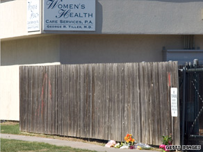 Flowers are left outside Tiller's clinic in Wichita, Kansas, after his death.