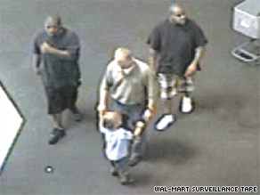 Police are trying to identify the two men seen here with murder suspect Leonard Patrick Gonzalez Jr., middle.