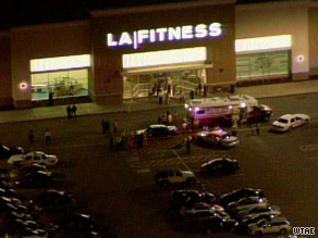 Authorities at the scene of a shooting at an LA Fitness gym near Pittsburgh, Pennsylvania.