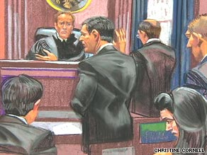 Frank DiPascali, center in this courtroom sketch, said he knew for about 20 years he was engaged in wrongdoing.