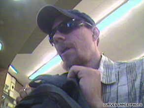 A bank surveillance camera photographed the suspect during one of the robberies.