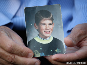Wetterling holds a photo of her son Jacob, who was abducted at age 11 nearly 20 years ago.