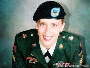 Sgt. Angela Peacock is seen in 2004, after she returned to the United States from duty in Iraq.