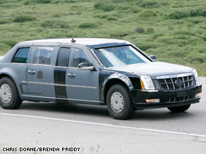 The style of the presidential limousine, though President Obama's car is black.