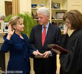 Clinton sworn in after Senate confirmation