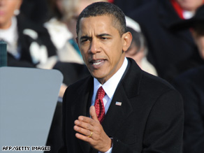 President Obama, pictured, giving his inaugural speech.