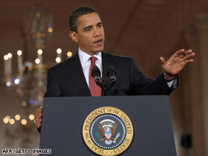 U.S. President Barack Obama answers a question during a press conference on Monday.