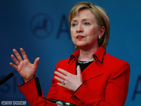 Hillary Clinton seeks improved relations with China, where she said the U.S. would renew military contacts.