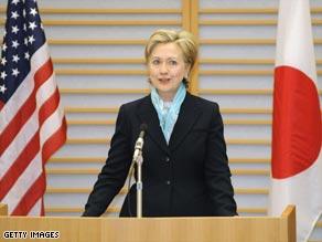 U.S. Secretary of State Hillary Clinton at Haneda International Airport, Tokyo, Japan, Monday.