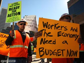 Unemployed construction workers demonstrate in Los Angeles, California.