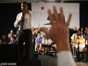 President Obama calls on an audience member during a town hall meeting Wednesday in Costa Mesa, California.