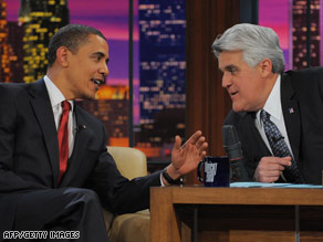 President Obama chats it up with Jay Leno on 'The Tonight Show' on Thursday.