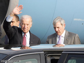 Vice President Joseph Biden arrives Sunday at an airport north of San Jose, Costa Rica.