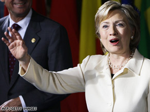 U.S. Secretary of State Hillary Clinton arrives Tuesday for a conference on Afghanistan at The Hague.