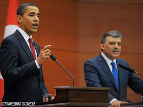President Obama and Turkish President Abdullah Gul hold a joint news conference Monday.