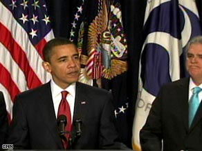 President Obama, with Transportation Secretary Ray LaHood, called for clean, efficient travel Thursday.