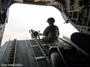 Troops from the United States fly over Kabul, the capital of Afghanistan.