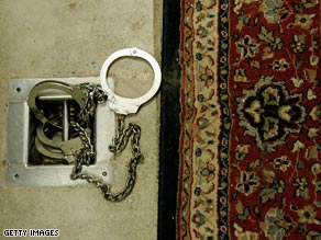 Leg restraints await detainees at Guantanamo Bay in this 2006 photo.