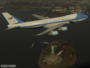 The 747 used as Air Force One flies over the Statue of Liberty in this photo released by the White House.