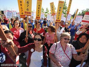 Nurses in Los Angeles rally for a universal single-payer healthcare system.