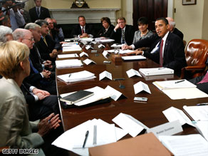 President Obama holds talks with members of the Economic Recovery Advisory Board on Wednesday.