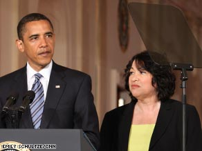 President Obama last week introducing Judge Sonia Sotomayor as his choice for the U.S. Supreme Court.