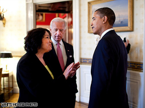 Judge Sonia Sotomayor in the White House with Vice President Joseph Biden and President Obama.